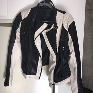 BLANKNYC Leather Jacket w/white paneling details